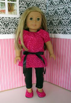 American Girl Doll Clothes - Pink Leopard Tunic and Leggings with Matching Shoes