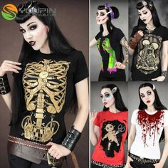 NEW Womens Skull  Punk Rock T shirt Cool Undead Zombie Goth Tee Shirt Top B20E-in T-Shirts from Women's Clothing & Accessories on Aliexpress.com | Alibaba Group