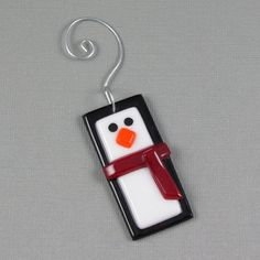Penguin Ornament Fused Glass Christmas Tree Ornament. The few times I've gotten to work with fused glass, I really enjoyed it. =)