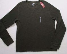 Arizona Jeans Men T Shirt 2XL Green Solid Crew Thermal Basic Tee Cotton 1791 #ArizonaJeans #BasicTee