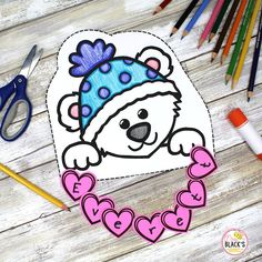 Polar Bear Activities- Bulletin Board, writing Craft and Name Practice Kindergarten Crafts, Kindergarten Classroom, Writing Activities, Teaching Resources, Name Practice, Penguins And Polar Bears, Bulletin Board Letters, Black Bee, First Grade Classroom