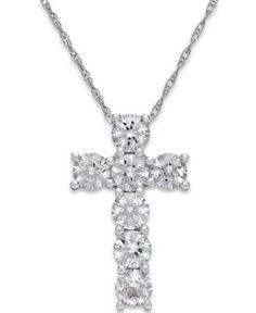 White Sapphire Cross Pendant Necklace in 14k White Gold (1-1/4 ct. t.w.) - White