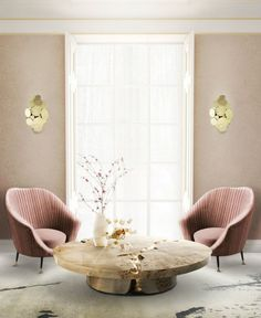 7 Color Combos Designers Swear By – The Evans Edit - Blush pink and gold, millennial pink velvet modern chairs, gold round coffee table, pink walls.