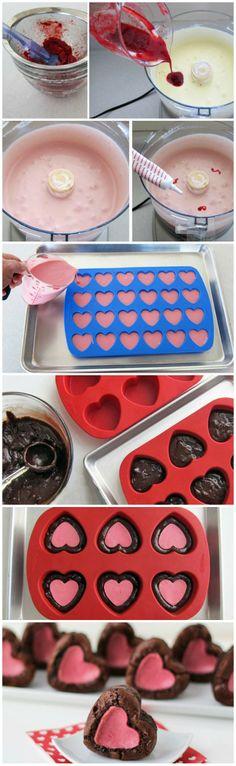 Raspberry {Cheesecake} Stuffed Brownie Hearts #valentinesday