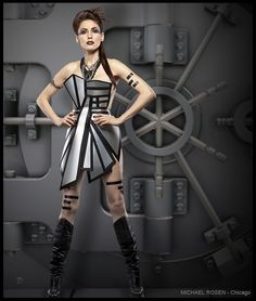 Metal dress, futuristic fashion, futuristic, metal, dress, chicago, wardrobe, designer, avant garde,