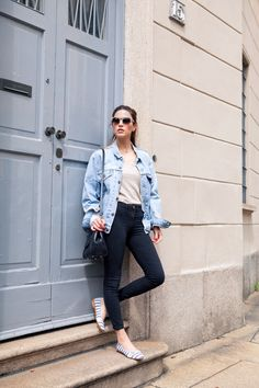 Pair a basic outfit (black jeans, neutral tee) with a structured blue jean jacket for spring (H&M has good options)