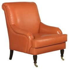 Check out this item at One Kings Lane! Oxford Leather Chair, Papaya