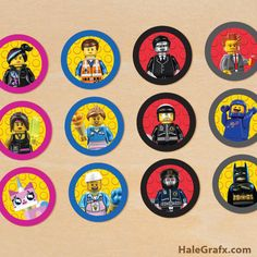 Free printable Lego Movie cupcake Topper templates