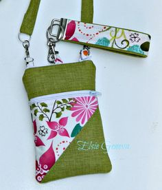 Chartreuse & Pink Phone Case 2 Outside Pockets - Wristlet - Shoulder Strap - Crossbody or Choose Any Fabric in My Shop on Etsy, $50.67 AUD