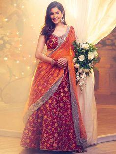 Bollywood style Anushka Sharma lehenga choli in red color. Delicately crafted with Malai silk fabric and embroidred work on whole lehenga makes this outfit best. Anarkali, Lehenga Choli Online, Bridal Lehenga Choli, Lehenga Wedding, Silk Lehenga, Pakistani Bridal, Bollywood Bridal, Bollywood Stars, Bollywood Lehenga