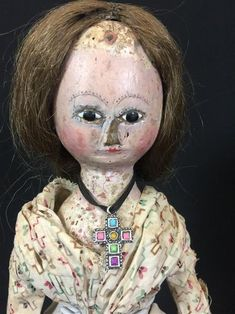 Bid online now at AuctionZip Live! - The Upcoming Live Auction Locator - Fast, Easy, and Free! Old Dolls, Antique Dolls, Eyelashes, Eyebrows, Human Braiding Hair, China Dolls, Wooden Dolls, How To Antique Wood, Queen Anne