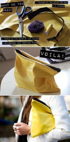 DIY: yellow clutch (mit Wachstuch!!)