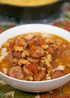 Black Eyed Pea and Smoked Sausage Soup - black eyed peas, smoked sausage, cajun chicken broth and Rotel - delicious soup that is ready in about 20 minutes!