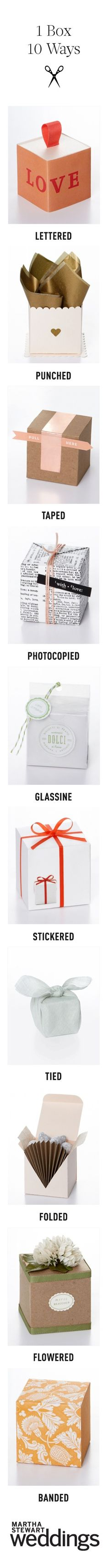 Find out how to transform one simple favor box into 10 awesome packaging options
