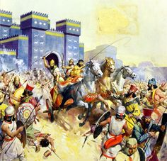 Zopyrus attacking the Persians in front of the Ishtar Gate, Babylon (Original) (Signed) art by James E McConnell Archive