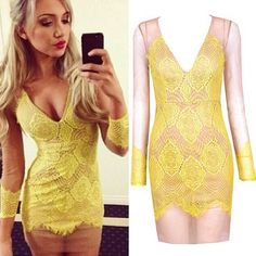 price:26.99usd  Style:Sexy  Color:Yellow  Material:Lace  Size:S/M/L