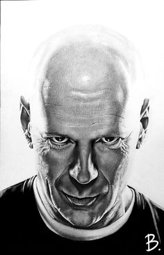 Bruce Willis, crayons, stylos pigment liner.