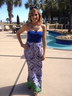 Final style for Myrtle Beach...my fav!   Print maxi blue dress by Kocosky  http://www.kocosky.com/ikat-print-maxi-blue/ summer dress, summer maxi, strapless dress