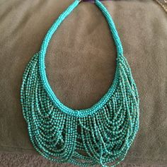 Teal and silver beaded statement necklace! Never worn, tag still on! Jewelry Necklaces