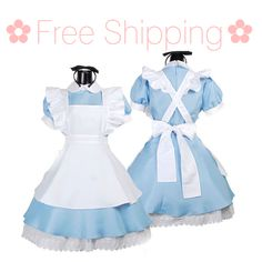 Free domestic shipping! Pre-order by Sepember 30th to ensure arrival by Halloween.   Includes:  1 blue dress 1 apron, 1 bow headband.   Sizing: S: Shoulder 38cm Bust 88cm Waist 74cm M: Shoulder 42cm Bust 92cm Waist 78cm  Free domestic shipping. Please allow 3-4 weeks for domestic shipp...