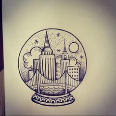 New York Tattoo, Nyc Tattoo, City Tattoo, Girly Tattoos, Dope Tattoos, Leg Tattoos, Tatoos, Globus Tattoos, Small Tats