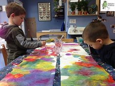 """Experiment with making colors! use paper towels as """"canvas"""" and water down paint. drip paint onto the paper towels with eyedroppers and watch it spread and mix with other colors to create new colors! can use the dried, colored paper towels in collages"""