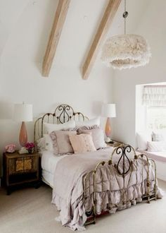 bedroom blush and gray and white modern and vintage twist so cute and classy.