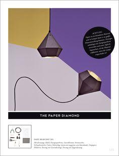 The Paper Diamond Lamp - Faltanleitung Papierlampe aus der CUT #7 http://www.cut-magazine.com/wp-content/uploads/VORLAGE_DIAMANT.pdf