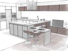 Dessin De Cuisine Rendu Crayonné  Kitchen Design Conception Fascinating Kitchen Design Drawings Design Decoration