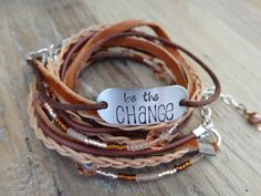 Be The CHANGE Hand Stamped Multi Strand Leather Wrap. Brown & Tan. Braided Leather. Inspirational. Quote Jewelry. Motivational. Bead Wrap.