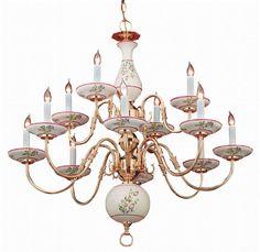 Classic Ceramic 12 Light Brass Chandelier - Crystorama - 4112-PB-R www.shopazteclighting.com/brand-crystorama