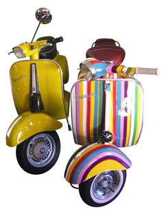 """Vespa Vintage 50 CC One of the symbols of Made in Italy. The first two-wheel scooter ever made, featuring the steel monocoque chassis, christened by Enrico Piaggio """"Vespa"""" for its rounded shape. Two Wheel Scooter, Scooter Bike, Vespa Scooters, Piaggio Vespa, Vespa Lambretta, Female Motorcycle Riders, Women Motorcycle, Vespa Retro, Classic Vespa"""