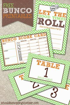 Free Bunco Printables | Includes invitation, scorecards and table tents. Instant downloads for a great party!