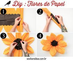 como fazer flores de papel (girassol) para decorar mesa e festas.
