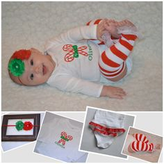 Baby girl Christmas outfit. $38.00, via Etsy.