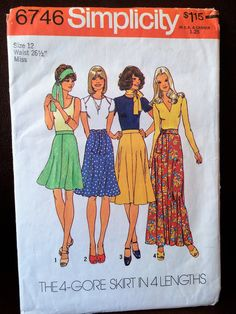 Flirty Skirt and Matching Tie 1970's Simplicity Sewing Pattern 6746 by CobbWebbTreasures on Etsy
