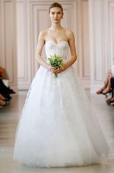 Strapless ball gown wedding dress. Oscar de la Renta, Spring 2016