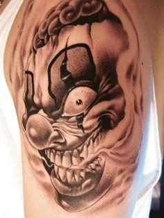 and more clown tattoo evil clowns clowns evil clown tattoos tattoos . Evil Clown Tattoos, Scary Tattoos, Skull Tattoos, Body Art Tattoos, Tattoo Drawings, Sleeve Tattoos, Tattoo Art, Arm Tattoo, Art Drawings