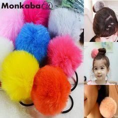 TS Moda cintas para el pelo de Corea Del Sur conejo Artificial bola 11 color de la piel de goma del pelo banda de goma Accesorio Para El Pelo Grande