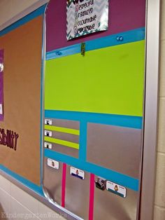 Love this brightly colored, fully functional classroom board made with an oil pan, scrap book paper duct tape Classroom Board, Classroom Setting, Classroom Setup, Classroom Design, Future Classroom, School Classroom, Bulletin Boards, Classroom Calendar, Biology Classroom