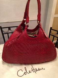 """Cole Haan Genevieve 19"""" Large Woven Leather Weave Triangle Hobo Handbag Red Tote Bag. Get one of the hottest styles of the season! The Cole Haan Genevieve 19"""" Large Woven Leather Weave Triangle Hobo Handbag Red Tote Bag is a top 10 member favorite on Tradesy. Save on yours before they're sold out! GORGEOUS!!! BEAUTIFUL RED ROSE COLOR!!! 19"""" LARGE BAG!!! RARE!!! SALE!!! WOW!!!"""