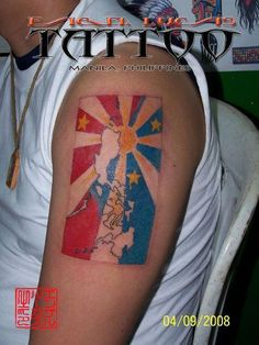 philippine flag tattoo Philippine islands with sun and stars Norway Design, Skin Color Tattoos, Island Tattoo, Patriotic Tattoos, Cross Flag, Filipino Tattoos, Funny Tattoos, Christian Messages, American Tattoos