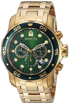 755e18cb72244 online shopping for Invicta Men s 0075 Pro Diver Chronograph Gold-Plated  Watch from top store. See new offer for Invicta Men s 0075 Pro Diver  Chronograph ...