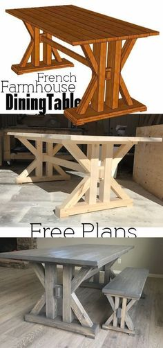 In need of the perfect farmhouse table? Why not DIY this French Farmhouse Dining Table Free Plans for the home kitchen In need of the perfect farmhouse table? Why not DIY this French Farmhouse Dining Table Free Plans for the home kitchen Farmhouse Table Plans, Farmhouse Kitchen Tables, Farmhouse Furniture, Rustic Furniture, Unique Furniture, Furniture Design, Kitchen Rustic, Diy Kitchen Tables, Kitchen Tips