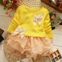 Ropa de vestir Flor Vestidos Niños Niñas bebés Princesa Toddlers Encaje Partido Bowknot Amarillo | Linio Colombia