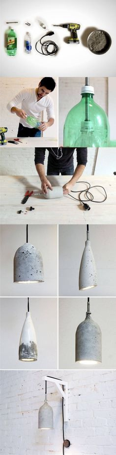 How About Making a DIY Concrete Lamp? Less Labor More Perfect Result! - Diy for Home Decor Concrete Crafts, Concrete Lamp, Concrete Projects, Diy Projects, Concrete Light, House Projects, Diy Luz, Deco Luminaire, Creation Deco