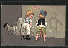 AK Knaben und Hund pinkeln an Hauswand Nr. 6827010 - oldthing: Karikatur, Scherz…