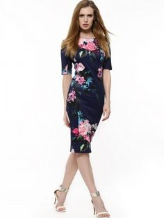 7e89daf058 Buy Ax Paris Navy Peony Print Bodycon Pencil Dress for Girls Online in India