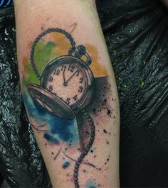 3D Watercolor pocket watch - 100 Awesome Watch Tattoo Designs