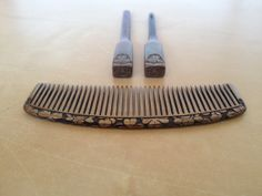 Collectible Japanese gold kogai kanzashi & kushi comb set w/ carved floral clover design from Etsy